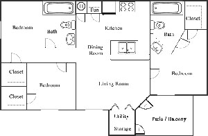 D - Three Bedroom / Two Bath - 1,250 Sq. Ft.*