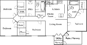 Four Bedroom / Two Bath - 1,350 Sq. Ft.*