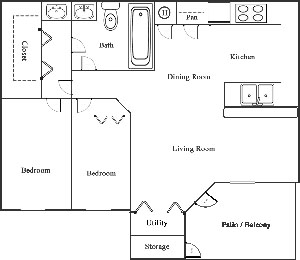 Two Bedroom / One Bath - 900 Sq. Ft.*